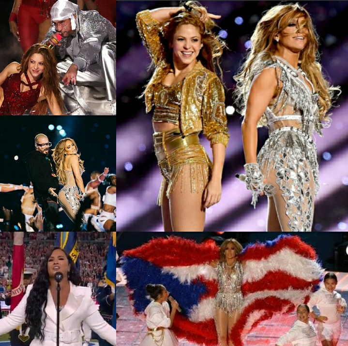 JLo, Shakira, Demi Lovato, Bad Bunny and J Balvin Superbowl Mash