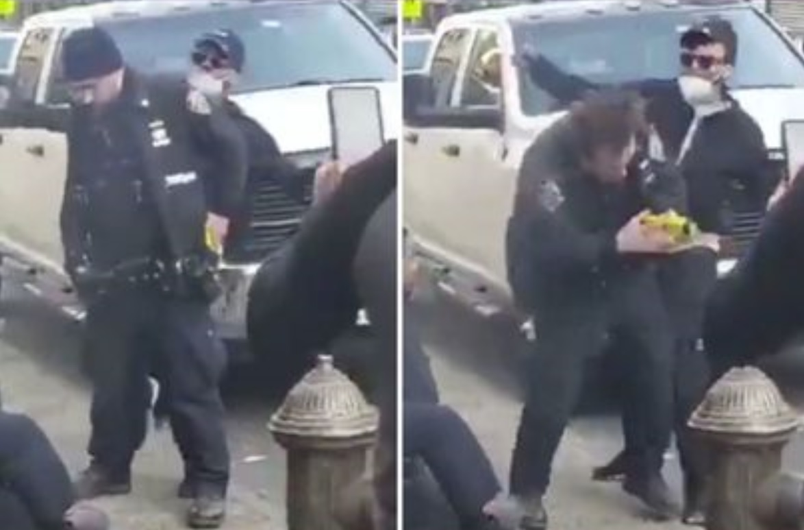 Guy Punch Cop and Woman Intervenes in a Criminal Arrest