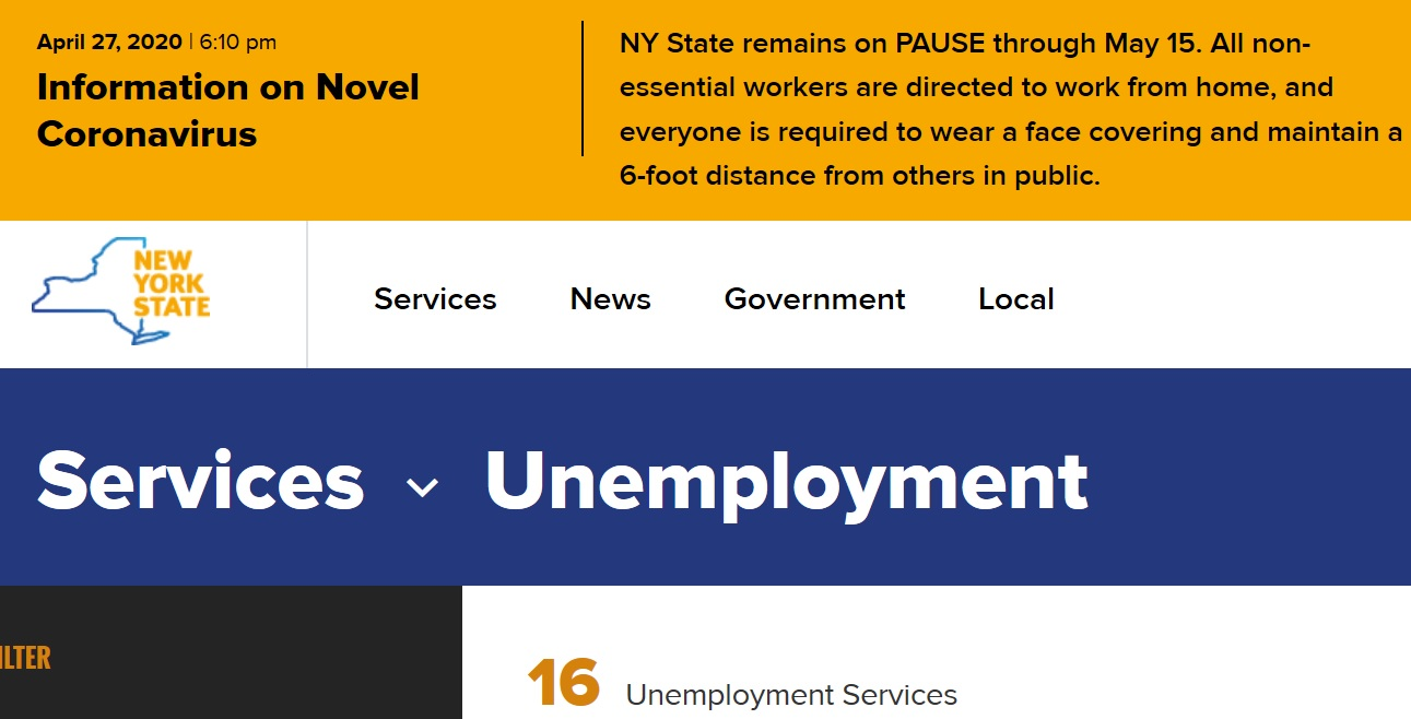 New York Update Unemployment Page