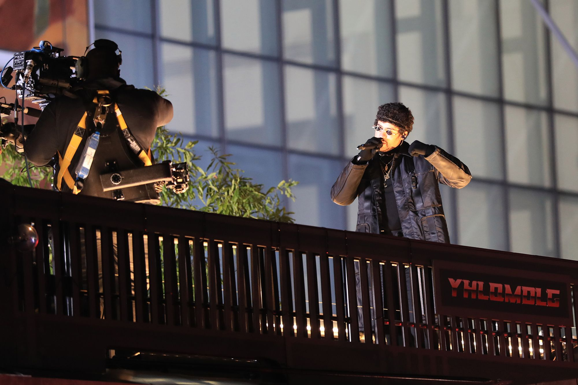 Bad Bunny performs live concert from a flatbed truck driving through New York City