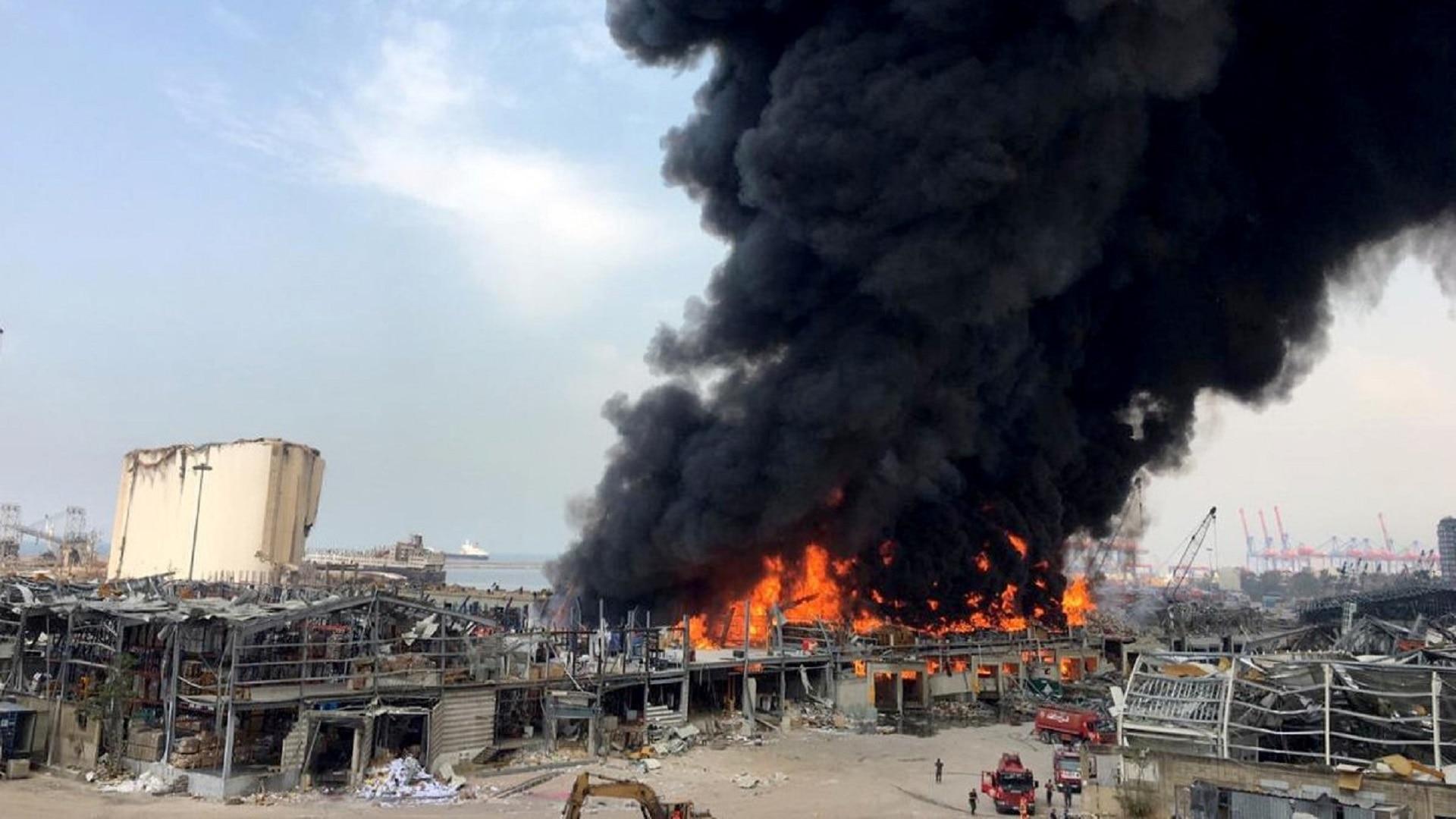 Beirut port ablaze, weeks after a massive blast
