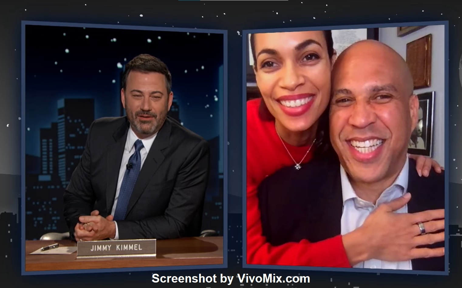 Rosario Dawson Sweetly Crash Boyfriend Cory Booker's Interview With Jimmy Kimmel